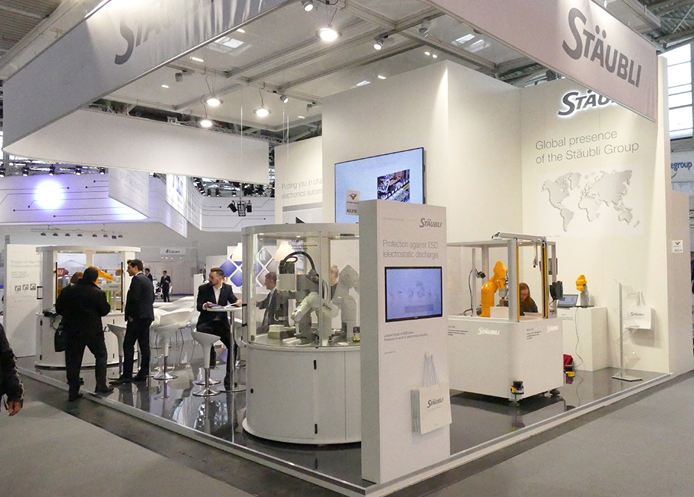 Stäubli whole booth at Productronica